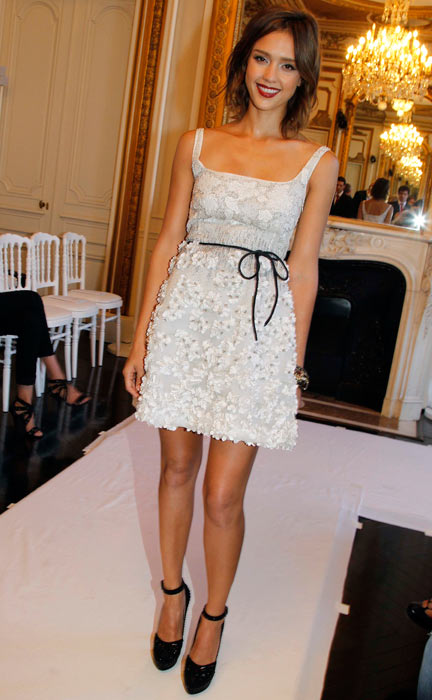 Jessica Alba at the Valentino Haute Couture 2011 show as part of Paris Haute-Couture Fashion Week Fall/Winter 2011 at Place Vendome on July 7, 2010 in Paris, France. (Getty Images)