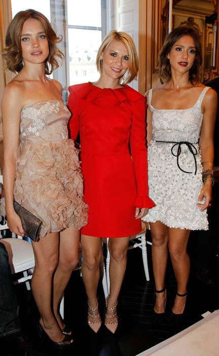 Natalia Vodianova, Claire Danes and Jessica Alba at the Valentino Haute Couture F/W 2011 show as part of Paris Haute-Couture Fashion Week Fall/Winter 2011 at Place Vendome on July 7, 2010 in Paris, France. (Getty Images)