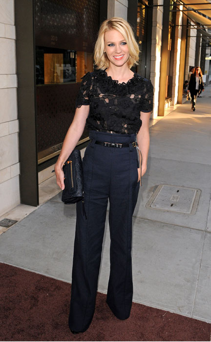 January Jones arrives at a cocktail  party at the Louis Vuitton store on Rodeo Drive on July 13, 2010 in Beverly Hills, California.
