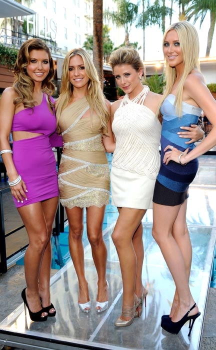 "Audrina Patridge, Kristin Cavallari, Lo Bosworth and Stephanie Pratt pose during MTV'S ""The Hills Live: A Hollywood Ending"" Finale on July 13, 2010 in Hollywood, California."
