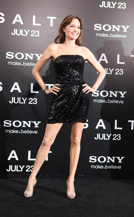 "Angelina Jolie at the Premiere of Columbia Pictures' ""SALT"" on July 19, 2010 at the Graumans' Chinese Theatre in Hollywood, California."
