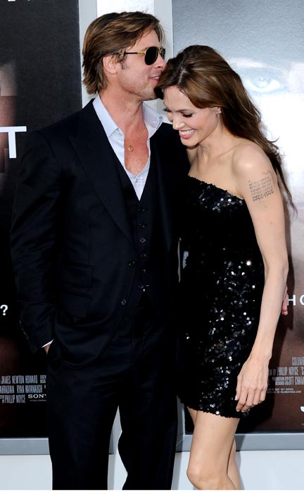 "Actor Brad Pitt and actress Angelina Jolie arrive at the Los Angeles Premiere ""Salt"" at Grauman's Chinese Theatre on July 19, 2010 in Hollywood, California."