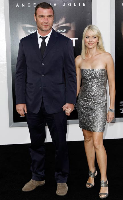 """Cast member Liev Schreiber, left, and Naomi Watts arrive at the premiere of """"Salt"""" in Los Angeles, on Monday, July 19, 2010."""