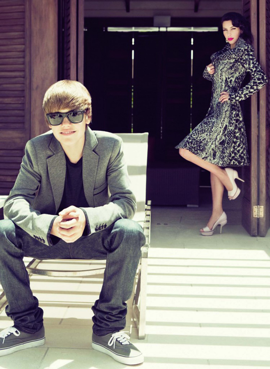 Kim Kardashian and Justin Bieber appear in the September 2010 issue of 'Elle.'