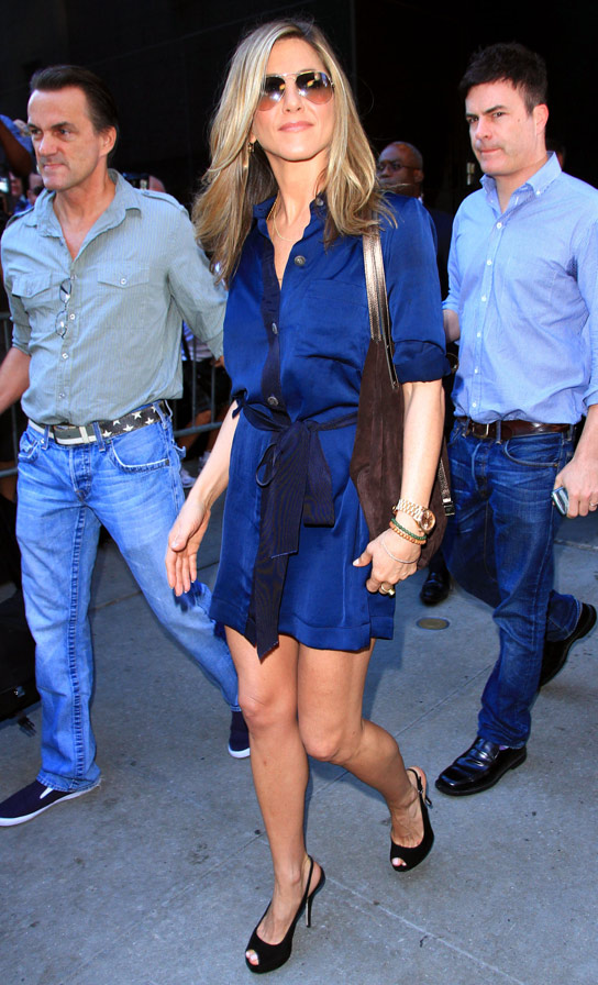 Jennifer Aniston is radiant at 'Good Morning America' in NYC. 8/19/10