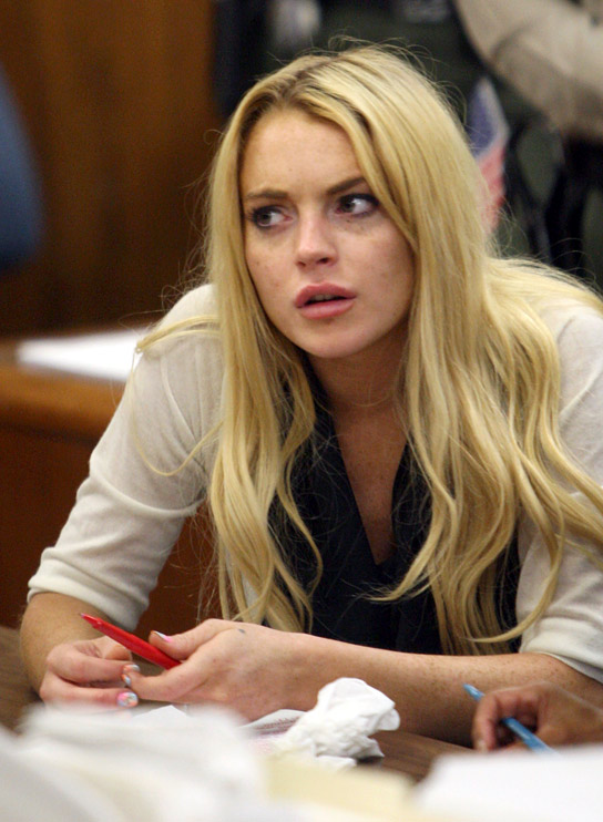 Lindsay Lohan attends her probation revocation hearing at the Beverly Hills Courthouse on July 6, 2010 in Los Angeles, California.  (Getty Images)