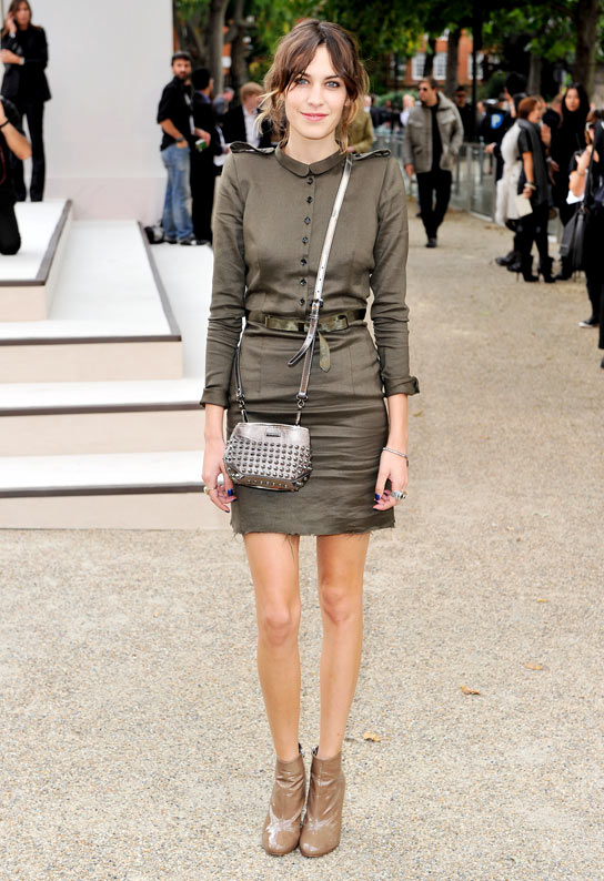 Alexa Chung attends the Burberry Prorsum Spring/Summer 2011 fashion show during LFW at Chelsea College of Art and Design on September 21, 2010 in London, England. (Getty Images)